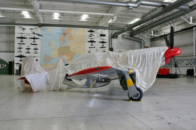 "Awaiting the grand unveiling of P-51D ""Bunny"" Palm Springs Air Museum Feb 2015"